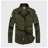 camisas de grife de marca venda por atacado-New Designer Top Homens Bordados de qualidade da Marca Vestuário Homens Camisas Marca Polo Homme Diamante Moda roupas militares