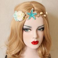 ingrosso marchi dei prezzi dei capelli-Donne Starfish Flower Headdress Lady Ghirlanda di capelli Shell Head Wear Beach Hair Dress Regali Nuovo prezzo all'ingrosso XW18