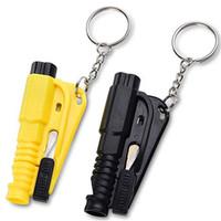 cuchillos martillados al por mayor-Mini Safety Hammer Car Life Saving Escape Hammer Herramienta de rescate de emergencia con llavero Silbato Cinturón de seguridad Cuchillo Cortador