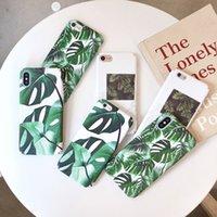 iphone claro verde al por mayor-Moda tropical hoja verde casos para iphone 7 plástico PC claro verano hojas de impresión para iphone 7 6 6 s 8 más x contraportada Fundas