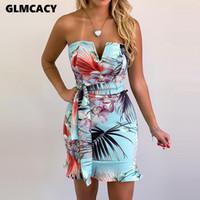 tüp askısız bodycon elbise toptan satış-Kadınlar Tropikal Zincir Baskı Ruffles V-cut Straplez Bodycon Tüp İnce Kısa Kolsuz Elbise Yaz Seksi Parti Gece Dışarı Elbiseler Y19052901