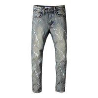 marcas famosas designer jeans venda por atacado-Moda Mens Jeans Homens Designer Jeans Famosa Marca Denim Jeans Causal Denim Hip Hop Skinny Magro Rasgado Buraco Hetero Dos Homens Denim Calças