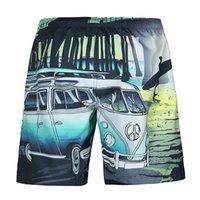 ingrosso auto hip hop-Mens Beach Summer Shorts Costume da bagno Cartoon Bus Car Funny Casual Hip Hop Board Shorts Bermuda Masculina Boardshort