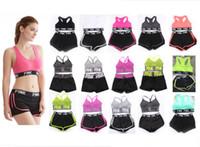 Wholesale short yoga pants for sale - Pink Letter Tracksuit Bra Set Short Pants Two Pieces Women Underwear Crop Top Bra Vest Shorts Fitness Yoga Sports Suit Summer Sportswear Hot
