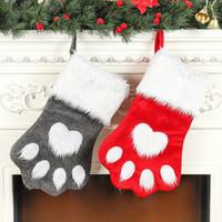 ingrosso calzini da cane neri-Calze Orso di Natale Calze Peluche Cane Artiglio Calze Forma Calze rosse e nere Decorazione natalizia per la casa Decorazione regalo per bambini