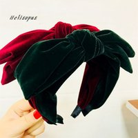 Wholesale thick headbands online - Helisopus Vintage Thick Knot Headbands for Women Velvet Retro Big Bow Hairband Women Fashion Hair Accessories