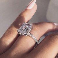 anéis de prata de declaração venda por atacado-Vecalon Elegante Promessa anel 925 Declaração de Prata Esterlina Anel de Festa de Casamento Do Diamante banda anéis para as mulheres Jóias