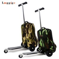 Wholesale blue scooter bag for sale - Group buy Backpack with skateboard Suitcase with wheels Rolling Travel Luggage scooter bag portable multi functional trolley Case