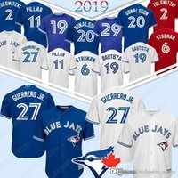 jay azul venda por atacado-27 Vladimir Guerrero Jr Toronto Camisolas Azuis Jays Beisebol 2 Tróia 29 Joe Carter 12 Roberto Alomar 6 Marcus Stroman