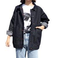 frauen schwarze jeansjacke großhandel-2019 neue heiße Verkaufs-Schwarz-Denim-Jacke Frauen-Frühlings-beiläufige lose All-Gleiches Harajuku Stil Jean Jacke Frau Mantel