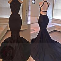 vestidos pretos cortados venda por atacado-Sexy Black Prom Dresses 2019 Lace Lantejoulas Frisado Sereia Backless Side Slit Longo Vestido de Noite Formal Vestidos de Festa