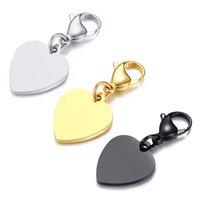 porte-clés en forme de coeur achat en gros de-Nouvelle Arrivée Lisse Coeur Forme Charme Porte-clés Casual Porte-clés En Acier Inoxydable Peut Être Gravé lettre Sac Femme Accessoires