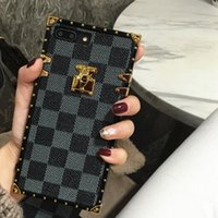 Wholesale Luxury Grid Designer Cover Fashion Phone Cases For iPhone X XR XS Max s Plus S9 S10 Note9 Leather soft Shell Skin Hull String GSZ508