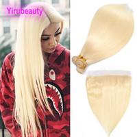 couleur des cheveux blonds 613 achat en gros de-Les extensions brésiliennes de cheveux de Vierge 613 # blond soyeux raides faisceaux de cheveux avec 13X4 dentelle frontale 4pieces / lot cheveux raides