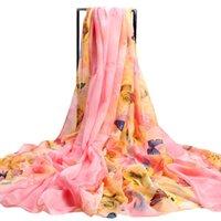 mousseline de soie coréenne achat en gros de-2019 l'écharpe châle serviette de plage foulards femme nouvelle longue en mousseline de soie impression coréenne foulard en soie châle serviette de plage