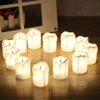 flammenlose teelichter großhandel-12pcs / set Halloween LED Kerzen Flameless Timer Kerze Teelichter Batterie betriebene Elektro flackernden Lichter Teelicht für Hochzeit Geburtstag
