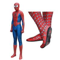 костюм-паук всего тела оптовых-Рэйми Человек-паук kostüüm Косплей 3D Печать Полное тело Зентаи костюм Стелька Lens маска для взрослых Дети Spiderman BodySuit CostumeMX190923