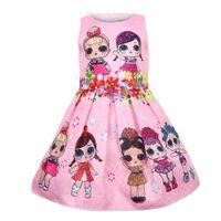 vestido casual criança meninas bonito venda por atacado-Vestidos de bebê 3-9Y verão bonito elegante vestido de festa de crianças trajes de natal crianças roupas princesa Lol meninas vestido