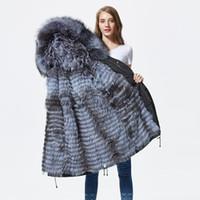 женщина серебряная парка оптовых-New silver  fur parka coat women knitted silver  fur lined parkas black winter thick real coat warm female outerwear