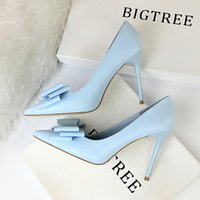 Wholesale solid colored shoes resale online - Thin high heels make women s shoes with a candy colored bow