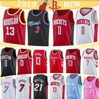 verhärten trikot großhandel-0 13 Westbrook Harden 3 Wade Jersey 0 Russell 13 James 3 Dwyane 34 Olajuwon Basketball-Trikots