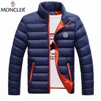 uzun ince ceket erkek toptan satış-Kış erkek Pamuk-yastıklı Düz Renk M0nclller Uzun Kollu Kabanlar Adam Aşağı Ceketler İnce Slim Fit Mont erkek ceket