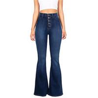 mavi kot pantolon düğmeleri toptan satış-Mavi Flare Skinny Denim Jeans Kadınlar Yüksek Bel Düğmeleri Artı Boyutu Pantolon Pantolon Tam Boy BuLifting Rahat Moda Kot