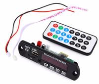 módulos usb mp3 al por mayor-Módulo decodificador de audio inalámbrico Amplificador de coche Bluetooth Placa de decodificación MP3 Módulo de radio FM TF USB Control remoto AUX para vehículo Envío gratis