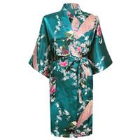 sin tirantes de gasa azul marino al por mayor-Caliente Nueva Rosa Dama de honor chino Bata Bata de imitación de seda Kimono Vestido Impreso camisón Ropa de dormir Flor S M L Xl Xxl Xxxl Br012