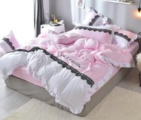 Wholesale princess girl bedding for sale - Lace Princess Style Bedding Set Washable Cotton Duvet Cover Set Full Size for Girls Women Creative Gift
