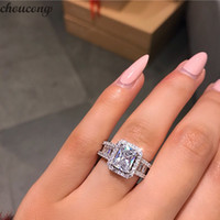 Wholesale miao jewelry for sale for sale - Group buy Choucong Hot Sale Stunning Luxury Jewelry Real Sterling Silver Princess Cut White Topaz CZ Diamond Eternity Wedding Band Ring for Women