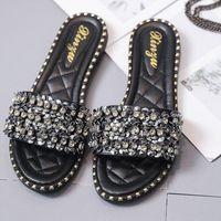 3f036b7f4 Spring Summer 2019 Diamond Flat Slippers Women Beach Slippers Crystal  Designer Shiny Ladies Sandals Slides Shoes For Wedding