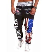 trajes de bandera al por mayor-Venta al por mayor de los hombres Hip hop estadounidense EE.UU. BANDA Jogger Sport Sweat algodón Pantalones Skinny Sport Pantalones Chándal Pantalones de entrenamiento Pantalones para correr