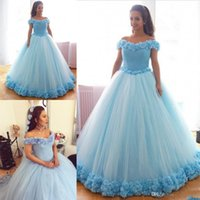 Wholesale water melon flowers ruffles quinceanera for sale - 2019 Light Blue Quinceanera Ball Gown Dresses Off Shoulder Flowers Crystal Beads Sweet Floor Length Plus Size Party Prom Evening Gowns
