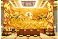 Wholesale buddha paintings living room resale online - 3d wallpaper custom photo Golden temple buddha tv background wall painting living room Home decor d wall murals wallpaper for walls d