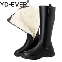 botas de couro simples venda por atacado-YD-EVER Alta Qualidade Natural De Lã Na Altura Do Joelho Botas Altas Das Mulheres Genuíno Couro Com Zíper Simples Sapatos Baixos Quente Botas de Neve de Inverno