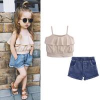 Wholesale girls denim suit kids resale online - Baby girls outfits children Ruffle Braces Sling top Denim shorts set summer suit fashion Boutique kids Clothing Sets C6137