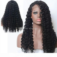 Wholesale unprocessed virgin deep curly wig for sale - Group buy Pretty sexy unprocessed virgin human hair full lace wigs natural color deep curly Front lace wig