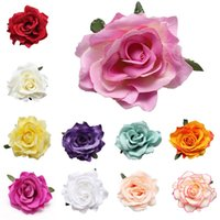 Wholesale flower hair accessories brooches resale online - New Fashion Colors Girls Hair Pins Clips Slides Grip Wedding Bridal Rose Flower Brooch Hair Accessories