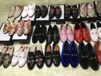 zapatos de vestir oxford para mujer al por mayor-Caja original Tallas grandes euro 42 Mocasines para mujer Zapatos de Mullers de cuero genuino Vestido de novia con estampado Horsebit Oxfords