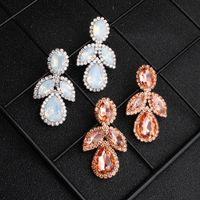 Wholesale chandelier wedding dress resale online - European and American creative new bride earrings big luxury set auger eardrop club party dress earrings earrings JCC104