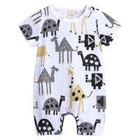 neue hosenart für babys großhandel-Sommer neue Baby Hosen Sommer Baumwolle Kurzarm-Krabbelanzug niedlichen Tier-Stil Baumwolle Hosen bequeme Mode zufällige Haare