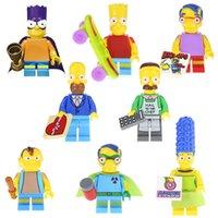 batman brinquedo de ação venda por atacado-New Marge Simpson Blocos Minifig Brinquedos Catoon Action Figure Dolls cinco centímetros Bart Batman Marge Pronton Milhouse Homer