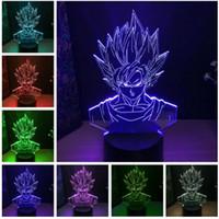bébés dragon achat en gros de-Gros Dragon Ball Super Saiyan Dieu Goku Figurines 3D Illusion Lampe de Table 7 Changement De Couleur Nuit Lumière Garçons Enfant Enfants Bébé Cadeaux