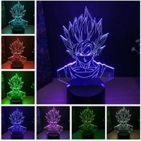 ejderha topu ışığı toptan satış-Toptan Dragon Ball Süper Saiyan Tanrı Goku Aksiyon Figürleri 3D Illusion Masa Lambası 7 Renk Değiştirme Gece Işık Erkek Çocuk Çocukla ...