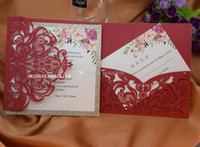 Hot selling Red Floral Laser Cut Glitter Bottom Ivory Insert Wedding Invitation Cards Flower Printing Quinceanera Invites with RSVP Card