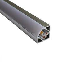 led-streifenbreite großhandel-V-förmiges LED-Aluminiumkanalsystem, silber eloxiert, Eckmontage für 12 mm breite SMD3528 5050-LED-Streifen mit weißer Austerabdeckung