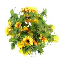 künstliche reben großhandel-Großhandel-IMC Hot Sunflower Vine künstliche Blumengirlande Dekoration für Garten / Hochzeit / Haus, Party, Feier, Allee, Treppe
