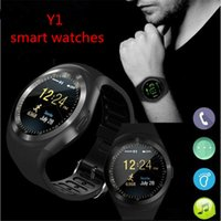 Wholesale round smart watches for android phones online – Y1 smart watches inches IPS Round Touch Screen Water Resistant Smartwatch Phone with SIM Card Slot smart watch for Android