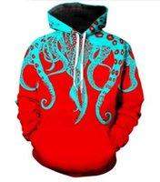 polvo de tentáculos venda por atacado-Roupas da moda Octopus Tentáculos HomensMulheres Hoodies Unisex Estilo Casual 3d Impressão Moletom Com Capuz Hip Hop Moletons Jaqueta Pullover Tops R0248